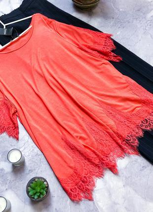 Уценка! модная блуза с кружевом с биркой