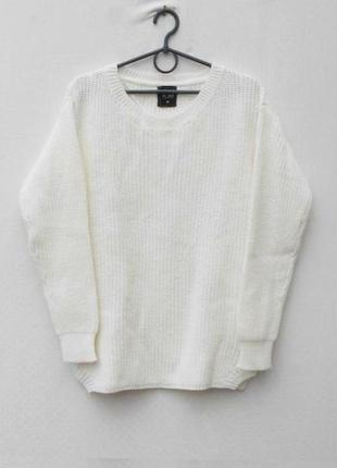 Белый осенний зимний вязаный свитер свитшот с длинным рукавом