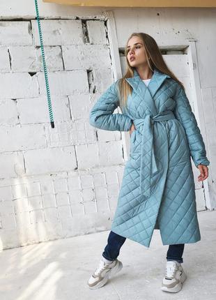 Стёганное удленённое осеннее пальто на синтепоне с поясом