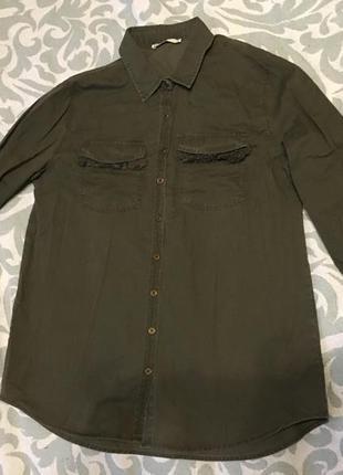 Рубашка в стиле милитари цвета хаки плотный хлопок