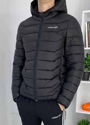 Мужская спортивная куртка короткая Адйдас черная
