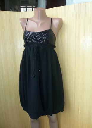 Чёрное нарядное платье под грудь с пайетками xs-s Tally Weijl