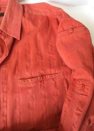 Крутая фирменная оранжевая рубашка приятная к телу