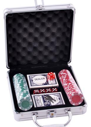 Покерный набор на 100 фишек без номинала в металлическом кейсе...
