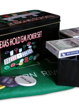 Покерный набор на 200 фишек с номиналом в металлической коробк...