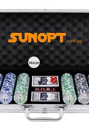 Покерный набор в алюминиевом кейсе на 500 фишек с номиналом (6...