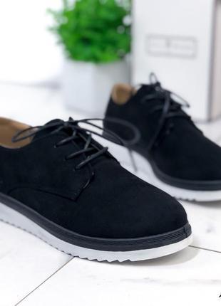 Туфли женские черные замшевые