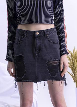 Джинсовая юбка рваная, джинсовая черная юбка короткая, юбка кэ...