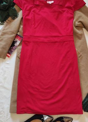 Красное большое батальное платье трикотажное миди glamorosa но...