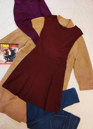 Платье бордо бордовое марсала винное под пояс большое батал ат...