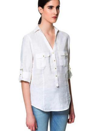 Zara льняная блуза