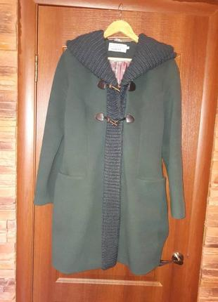 Стильное тёплое изумрудное пальто евро зима весна/осень