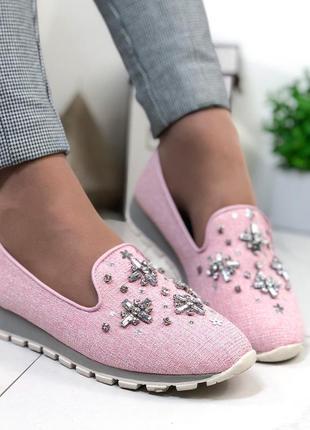 Мокасины женские розовые