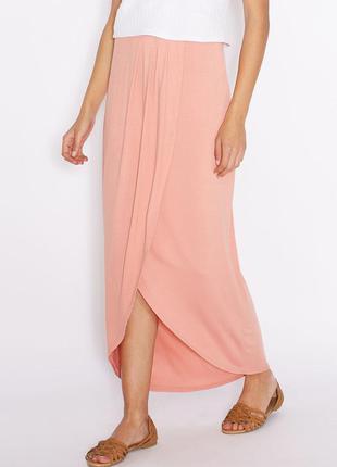 Трикотажная юбка макси на запах из вискозы, юбка в пол с разрезом
