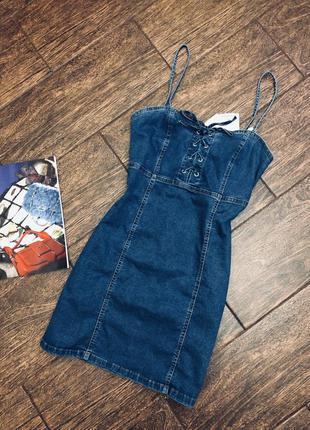 Очень стильный джинсовый сарафан /платье