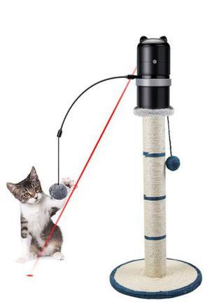 Игрушка для кошек с крутящемся лазером и перьями автоматическая