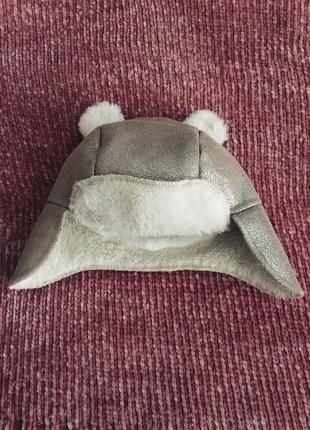 Новая детская шапка-ушанка на 3-6 месяцев george бежевая шапка...