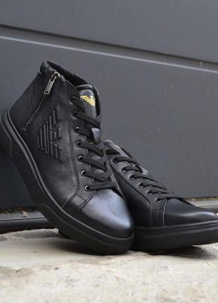Легкие кожаные зимние полуботинки шкіряні черевики