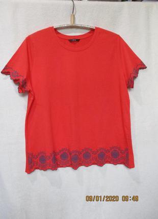 Красивая трикотажная футболка с накатом/батал