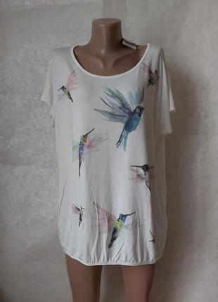 Фирменная peacocks просторная вискозная футболка с птичками ко...