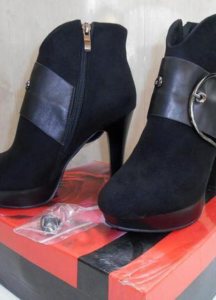 Черные замшевые женские ботильоны yimerir