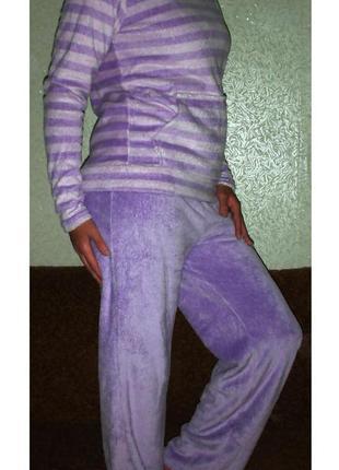 Теплая махровая пижама authentic домашний костюм с капюшоном