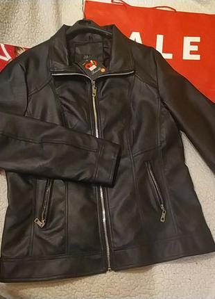 Куртка размера плюс из экокожи италия