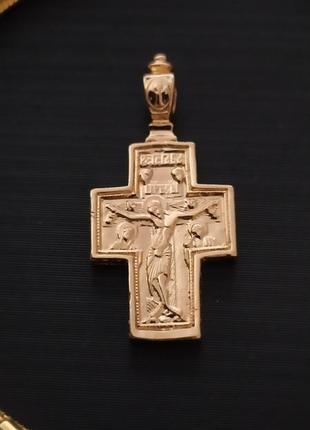 Крестик подвухсторонний с образами иисуса и девы марии,позолот...