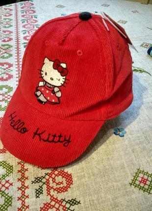 Вельветовая кепка на девочку hello kitty