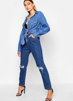 Boohoo. товар из англии. джинсовая рубашка с завязками