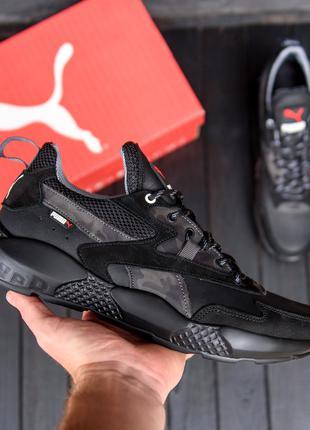 Мужские кожаные кроссовки  Puma ST RUNNER Black