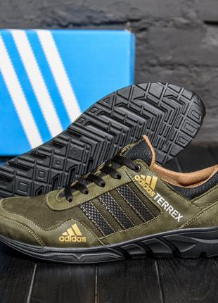 Мужские кожаные кроссовки Adidas Terrex  Green