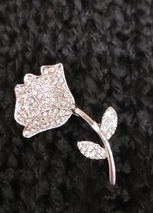 Брошь серебряная роза