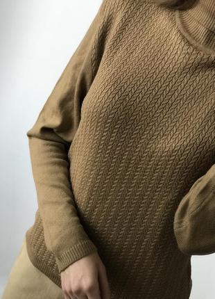 Свитер гольф водолазка коричневый шерсть кашемир шерстяной мер...