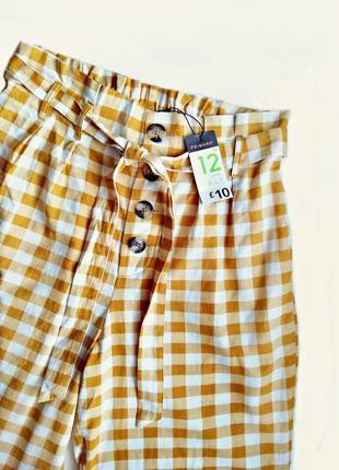 Высокие брюки paperbag / штаны в клетку с поясом и пуговицами ...