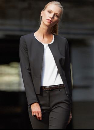 Брендовый черный шерстяной пиджак жакет на молнии minosa petit...