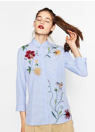 Рубашка с вышивкой zara.