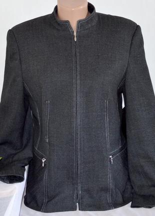 Брендовая серая куртка пиджак на молнии с карманами klass coll...