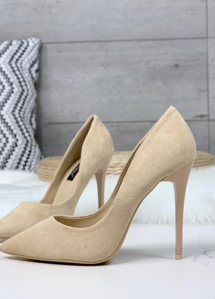 Шикарные нюдовые туфли на шпильке
