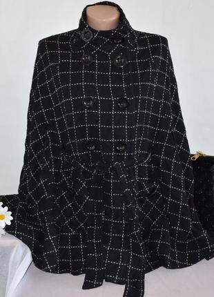 Брендовое черное демисезонное шерстяное пальто пончо кейп в кл...