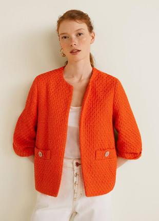 Твидовый оранжевый укороченый жакет пиджак mango