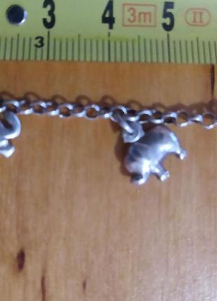 Серебро 925 проба . интересный браслет слоники . длинна 18 см ...