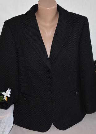 Брендовое черное шерстяное фактурное полупальто пиджак жакет m...