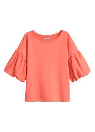 Кораловая блуза из хлопкового футера ткани свитшот фонарик - а...