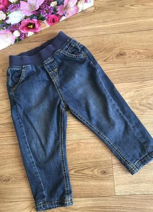 Комфортные тёплые джинсы пояс резинка на хлопковой подкладке