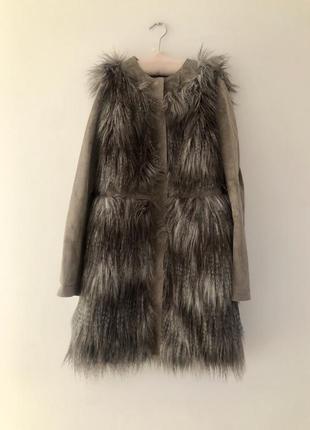 Стильное замшевое пальто с мехом
