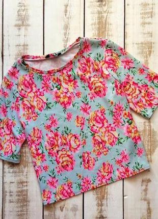 🌺🎀🌺стильная, женская футболка, блузка, кроп топ в цветочный пр...
