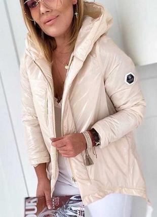 Виниловая куртка плащевка с удлиненной спинкой