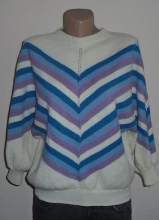Разноцветный свитер в полоску/джемпер/светр/кофта/рукав фонарик