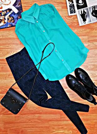 Женская яркая нарядная шифоновая блуза - рубашка - размер 44-46